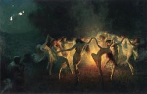Nymphs dancing to Pan Flute por Joseph Tomanek